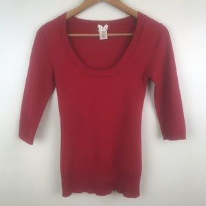 FOREVER 21 Red Scoop Neck 3/4 Sleeve Red Sweater
